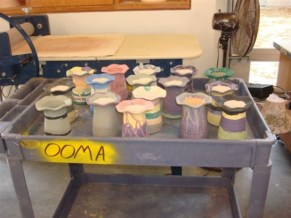 The decorated vases will be fired in the new kilns and returned to the class when completed.