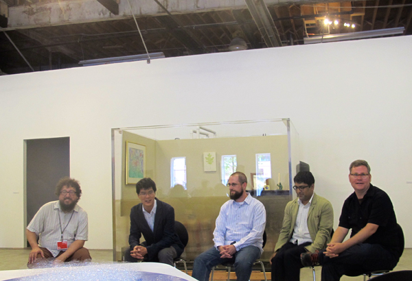 From left to right, MOCAD Coordinator of Public Events Greg Baise, curator Greg Tom, and artists Jason J. Ferguson, Osman Kahn, and Matt Kenyon.
