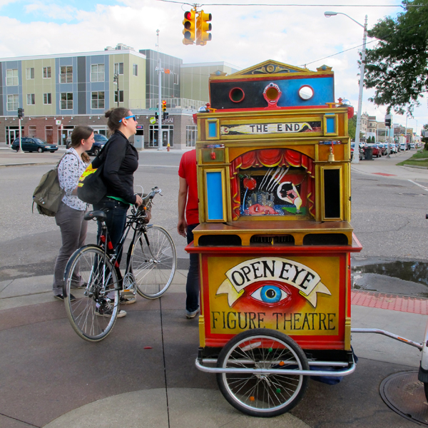 A roving puppet theater which performed in different locations all weekend, including Belle Isle and Cass Ave.