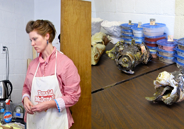 Artist and sculptor Addie Langford, and a few of her ceramic animal skull interpretations.