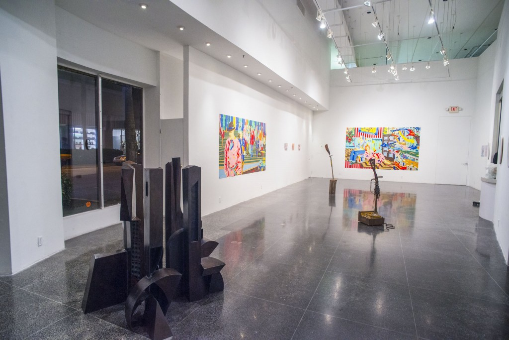 At ArtCenter: in foreground Robert Huff sculpture; in back Roberto Visani's sculptures; on walls Kuhl & Leyton tape collages