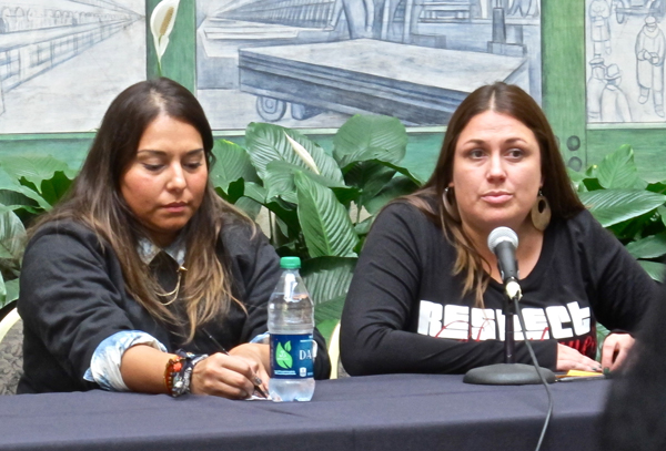 "Artist and Navy veteran Alana Rodriguez (left) paid tribute to military veterans, including those in her own family, with, ""Los Valientes,"" and artist and activist Maria (right) honored the unknown people lost in border crossing, with one of the most powerful ofrendas in the exhibit."