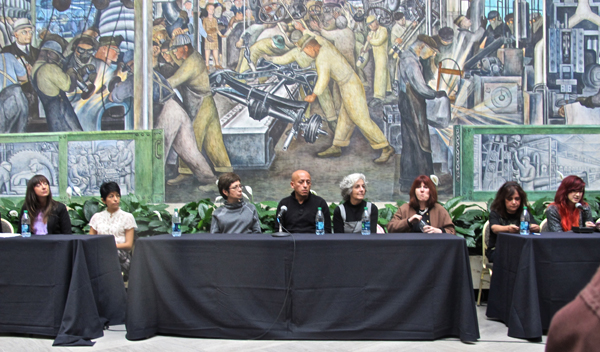 The artist panel took place in the Diego Rivera courtyard.