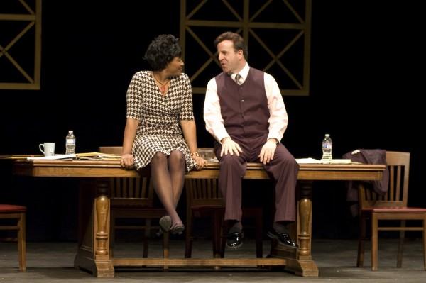 "Johnetta Harris and Scott Shriner in ""Race."" Photo courtesy of Weathervane Playhouse"