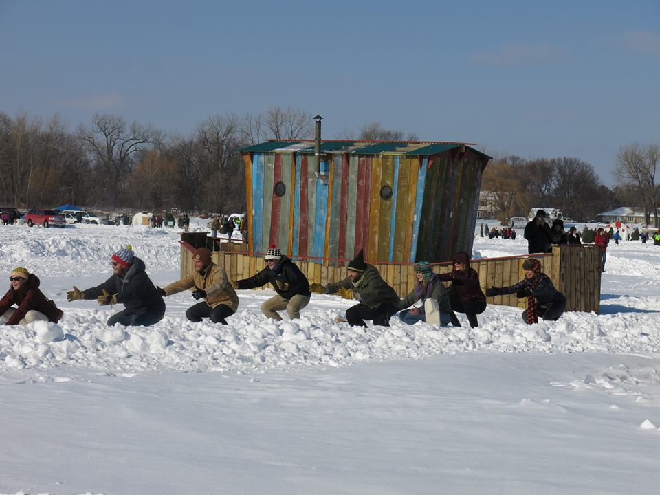 """""""Snowga"""" squats at the Meta Shanty. Photo courtesy of Art Shanty Projects."""