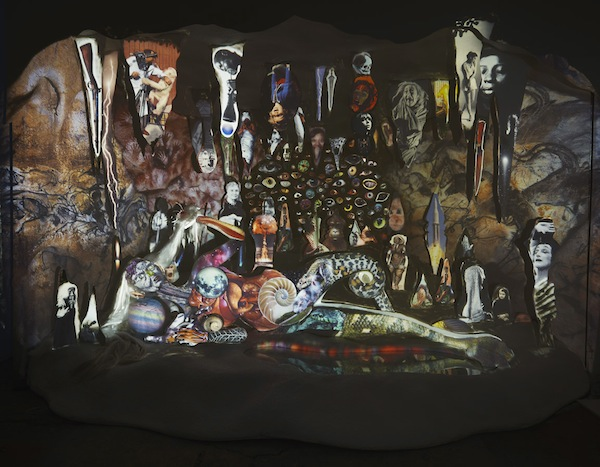 Shary Boyle: The Cave Painter, (details), 2013. Plaster, wood, foam, synthetic hair, sculpting epoxy, metal, acrylic, glitter, glass, 3 overhead projectors on custom sculpted plinth, photo-collage projection acetates, timer sequencer. 301 x 427 x 45. Photos by Rafael Goldchain Ⓒ 2013