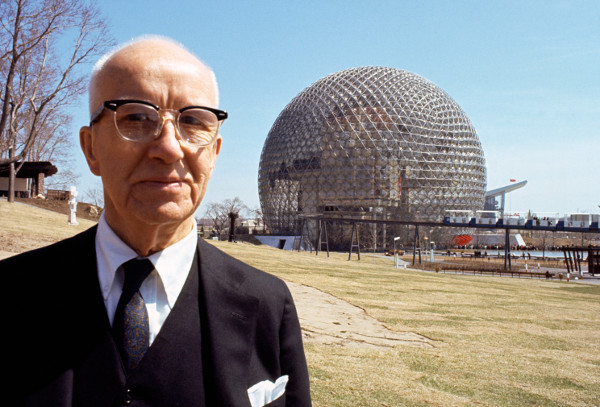 Buckminster Fuller in front of the Montreal World's Fair Dome. Photo courtesy Magnum Photos