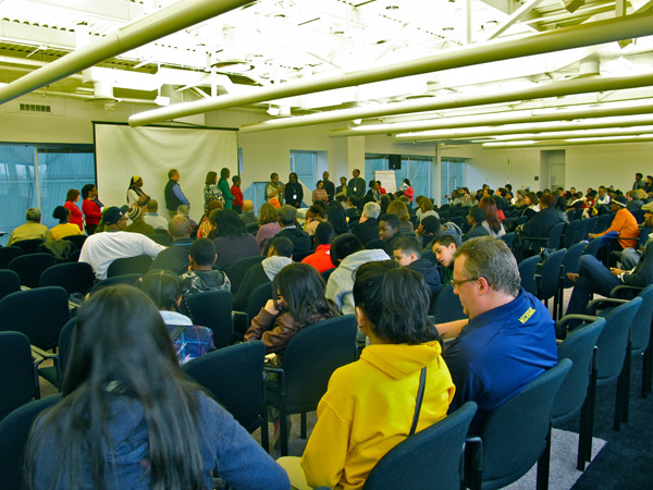 The opening day crowd, which included many Detroit students and luminaries of the urban agriculture movement.