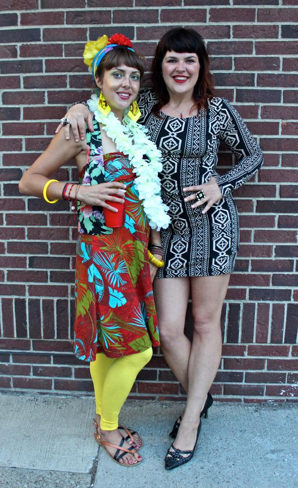 Co-curator Megan Frye (left) and art scenester Jenaveve Biernet.