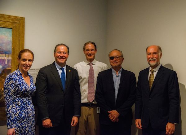 From left: Dr. Kathleen V. Jameson, President & CEO, The Mint Museum; H. E. Emanuel Gonzalez-Revilla, Ambassador of Panama to the United States; Dr. Jonathan Stuhlman, Senior Curator of American, Modern, and Contemporary Art; Artist Mel Chin; and Jonathan D. Farrar, Ambassador of the United States to the Republic of Panama.  Mint Museum photo.