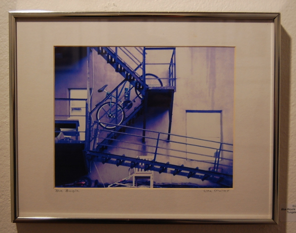 """Elke H. Muller, """"Blue Bicycle (Urban Landscape)."""""""