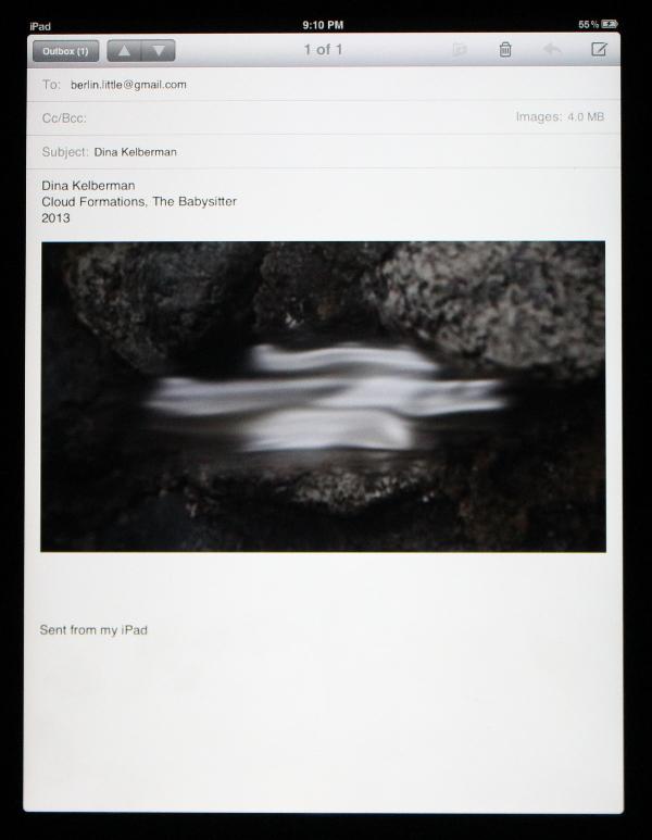 "Dina Kelberman, ""Cloud Formations, The Babysitter."""