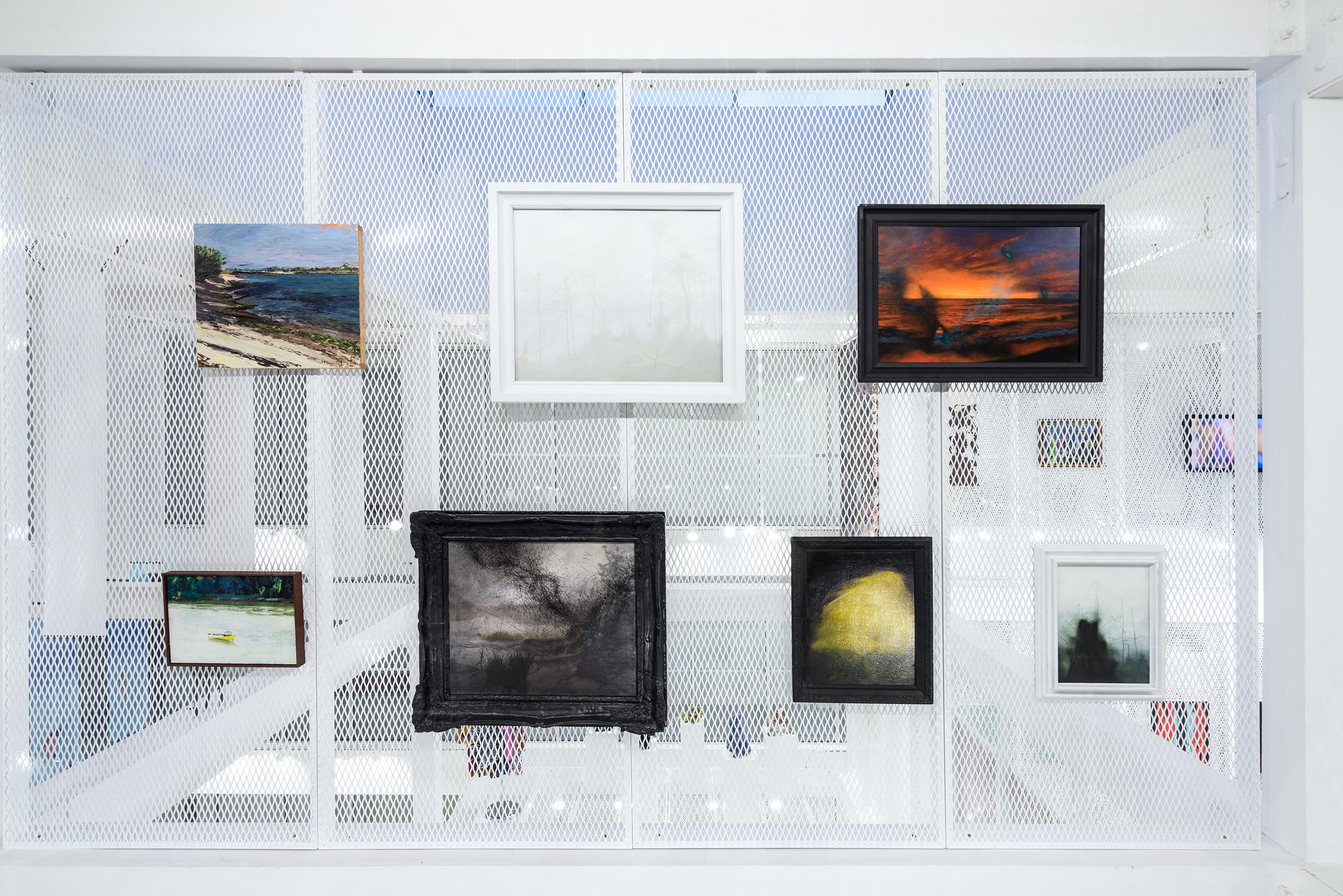 Paintings hung on racks from Scott Armetta; photo Studio LH00Q. Courtesy ICA Miami.